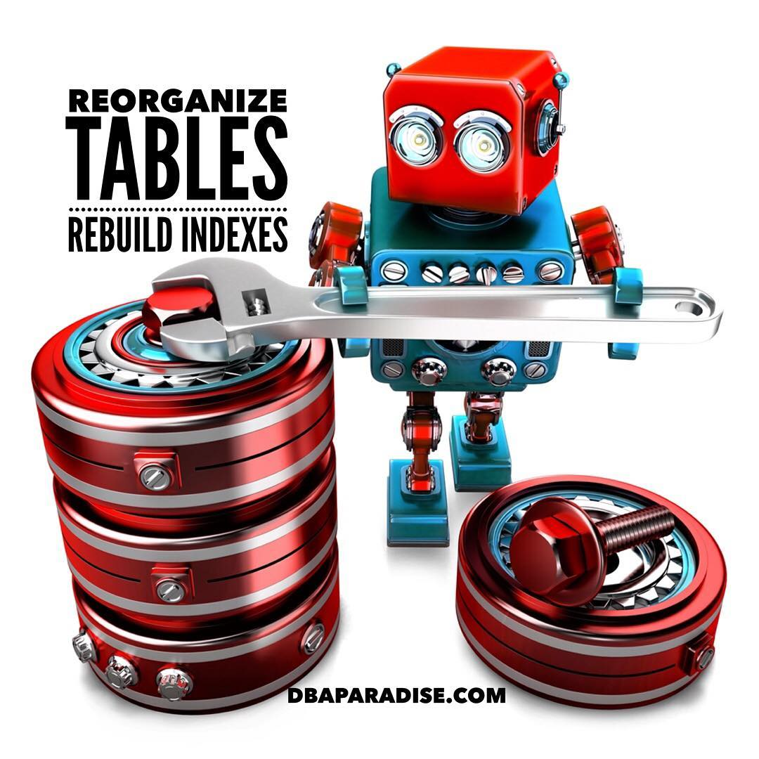 Database Maintenance. Reorganize Tables. Rebuild Indexes